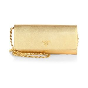 Prada saffiano metal clutch/ shoulder bag